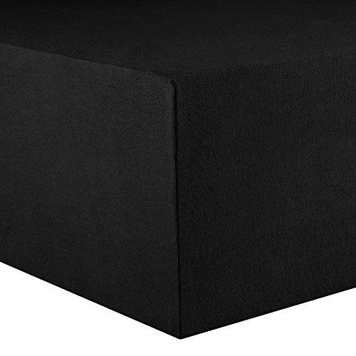 CelinaTex Lucina Spannbettlaken 180x200 - 200x200 schwarz Jersey Baumwolle Spannbetttuch Doppelbett Matratzen 0002820