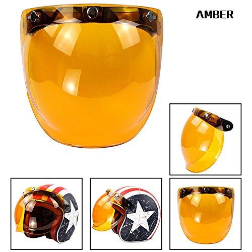 Purebesi Casco de visera Espejo de repuesto para el casco Motocicleta Vintage Gafas para Harley Gafas de burbuja Gafas de antirreflejo de seguridad retro de casco de tres botones con marco