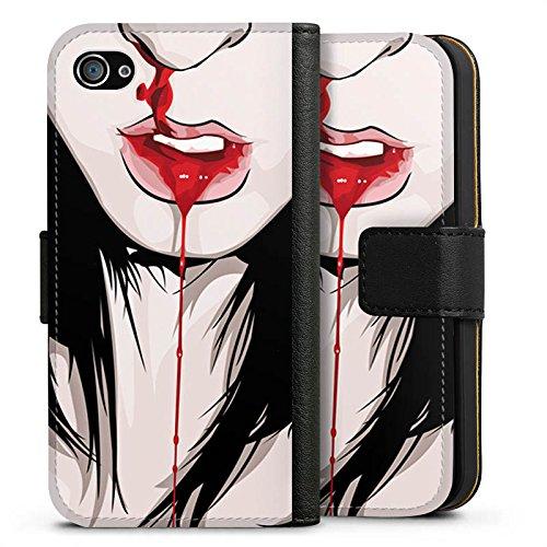 Apple iPhone X Silikon Hülle Case Schutzhülle Nase Nasenbluten Mädchen Sideflip Tasche schwarz
