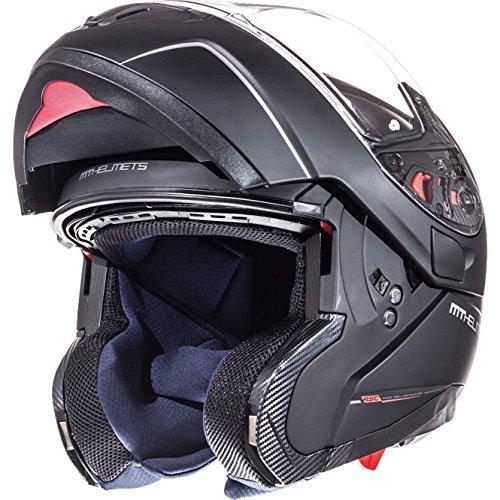 Motorrad Modular Helm Dot (105200034 - MT Atom SV Solid Flip Front Motorcycle Helmet S Matt Black)