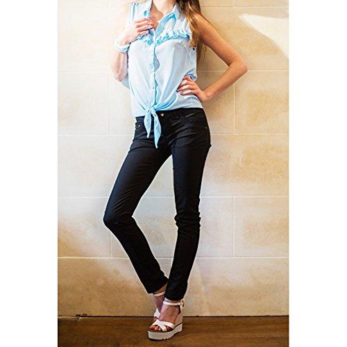 Ideal Shoes–Sandale kompensiert Glitterlack mit Sohle aus Radierer Viviana Schwarz - Schwarz