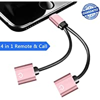 lightnig and Headphone Adapter for iPhone 7/7 Plus/8/8 Plus/X/10 Accessories, Dual Lightning Headphone Audio Adapter for iPhone 7 / 7Plus, Lightning Splitter Support with Call Audio Charge Function at the Same Time.(Suport iOS 10.3/11 and Later)