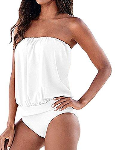 JOMOQ Damen Tankinis Two-piece Plain Trägerloses Verband Badeanzug Bodysuit  Bademode Bikini (XL, 1c65062747