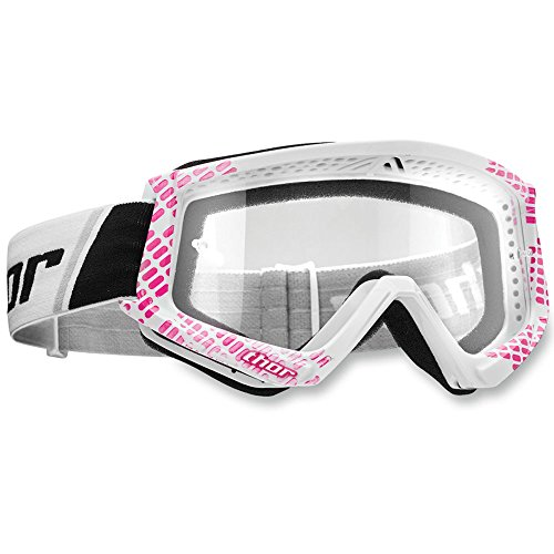 Thor Combat Brille Pink Weiß Motocrossbrille Offroad Enduro Quad ATV Motocross Cross Brille Kawasaki Yamaha MTB BMX SX FR Downhill Supermoto