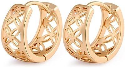 Pendientes de mujeres - TOOGOO(R)Pendientes lujosos de aro de oro plateado de mujer para fiesta con hueco de moda pendientes de joyeria