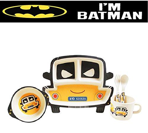 Kindergeschirr Set Bambus Batman Figur - Öko Produkt - Bambusfaser 5 Teilig. Perfekten Teller für kleine Hände. Spülmaschinenfest und leicht von Hand zu waschen für Kinder Baby Babygeschirr Kinderfahrzeug Kinderspielzeug. - Aufgeteilt Kinder Für Platten