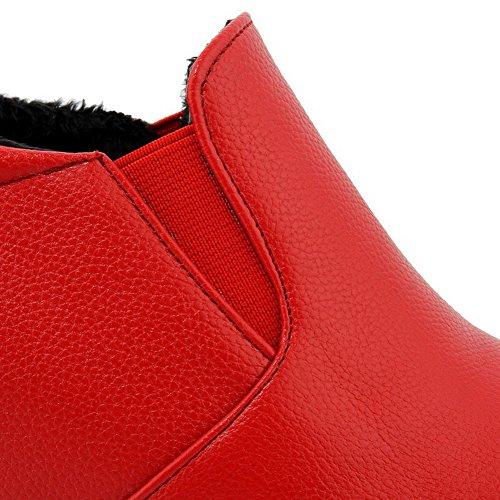 AllhqFashion Femme Matière Souple Tire Rond à Talon Haut Couleur Unie Chaussures Légeres Rouge