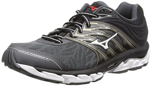 Mizuno Wave Paradox 5, Zapatillas de Running para Hombre, Negro (Darkshadow/Silver/Fiery Red 03), 44 EU