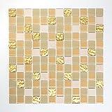 Mosaik Fliese selbstklebend Transluzent Stein weiß gold Glasmosaik Crystal Stein weiß matt gold für WAND BAD WC KÜCHE FLIESENSPIEGEL THEKENVERKLEIDUNG BADEWANNENVERKLEIDUNG Mosaikmatte Mosaikplatte