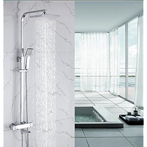 NHD-Temperature temperature 38 degrees, copper faucet, automatic lift rod, square rain shower set - Fusioni Acrilico Rod