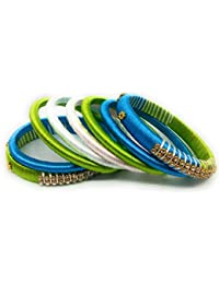 SAI Handmade Silk Thread Bangle Set For Women, Blue Green And White Color With Stone (Size - 2.8)