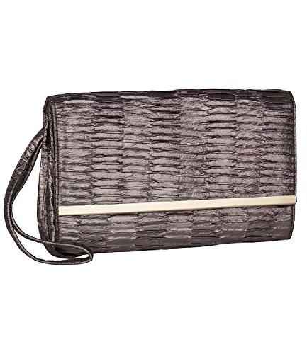 SIX SALE - Damen Abend Handtasche, Clutch, abnehmbare Handschlaufe, braun bronze, glänzend (427-620) (Handtasche Bronze-abend)