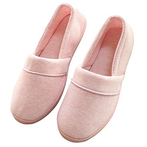 Pingenaneer Damen Haus Hausschuhe / Schuhe mit Weiche Sohle Anti-Rutsch Flache Hausschuhe Bequem und Warm zum Schwangere Frauen Schuhe Yoga Ballerina Schuhe - 24cm (Rosa) (Cashmere-fox)