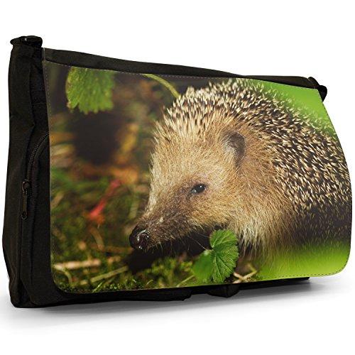 Puntura Riccio–Borsa Tracolla Tela Nera Grande Scuola/Borsa Per Laptop Hedgehog With Leaves