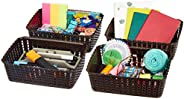 Amazon Brand - Solimo Storage Basket, Set of 4, Small, Brown