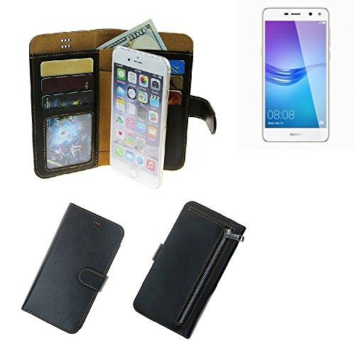 Für Huawei Y6 (2017) Single SIM Portemonnaie Schutz Hülle schwarz aus Kunstleder Walletcase Smartphone Tasche für Huawei Y6 (2017) Single SIM - vollwertige Geldbörse mit Handyschutz - K-S-Tra