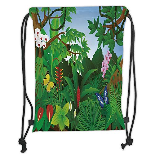 Icndpshorts Plant,Cartoon Style Lively Forest with Butterflies Trees and Various Flowers Print Decorative,Emerald Multicolor Soft Satin,5 Liter Capacity,Adjustable St -
