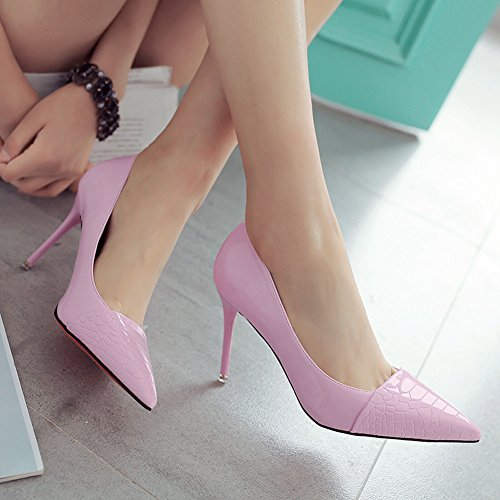 Damen Pumps Spitze Slip On Kurzschaft Stilettos Neuheiten Brautschuhe Pink