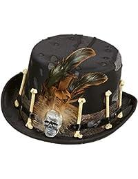 cc4070375e3829 shoperama Schwarzer Voodoo Zylinder mit Knochen Federn und Totenkopf Gr. 58  Hut Halloween