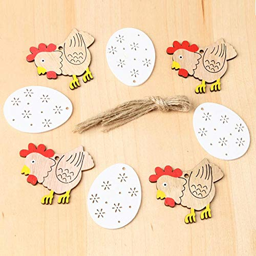 Party DIY Decorations - 8pcs Pack Easter Wooden Cock White Egg Pendant Nordic Style Party Decorations Pendants With Hemp - Party Decorations Party Decorations Easter Plastic Kitchen Woode