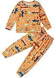 Pijamas fósiles de Dinosaurio Pijamas fósiles de algodón Camisa de Manga Larga para niños pequeños de Manga Larga y Pantalones de Pijama