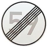 ORIGINAL VERKEHRSZEICHEN Nr. 282 mit Zahlenkombination ENDE 59 km/h für den 60 Geburtstag mit RAL...