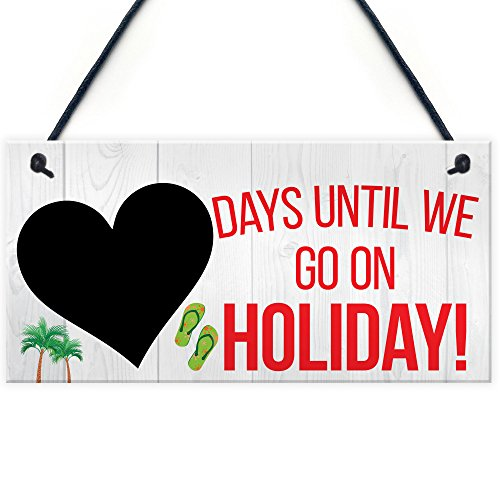 Red Ocean Chalkboard Countdown Days Until Holiday Hanging Sign Plaque Family Doorsign Gift