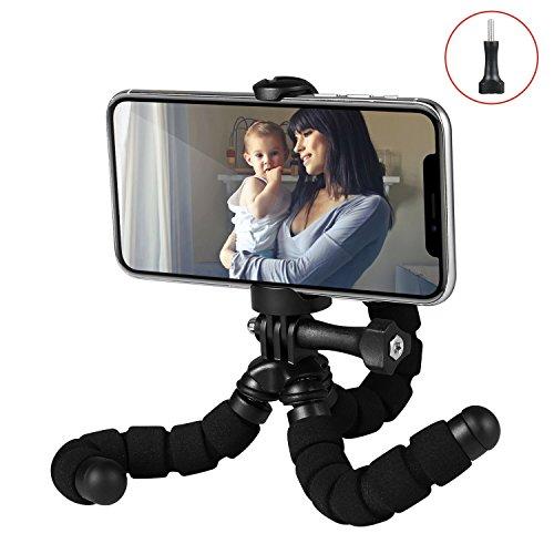 Fotopro RM-95-N - Mini trípode flexible, con soporte para Smartphone / cámaras de acción, color negro