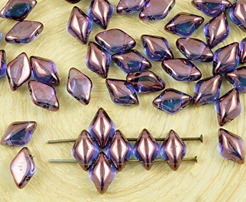 60pcs Crystal Lila Vega Luster Matubo GemDuo Rhombus Diamant-Zwei 2-Loch-Tschechische Glas-Perlen-Edelstein-Duo 8mm x 5mm (Edelstein-las Vegas)