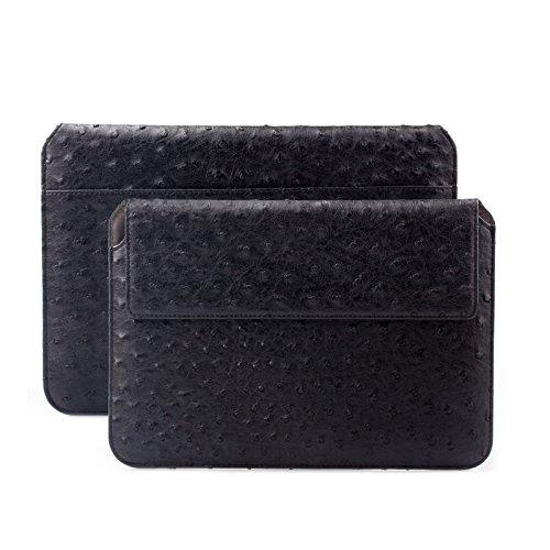 iCues Schutzhülle kompatibel mit Apple iPad Mini 4 Case | Samsung Galaxy Tab S2 8.0 Tasche | 6.9 bis 8.0 Zoll Tablet Piquante Etui Ostrich Schwarz | Sleeve Hülle Case Leder Schutz Strauß Tasche