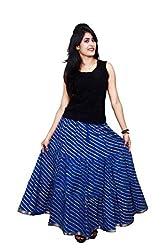 Decot Paradise Viscose Women's Skirt (SKT217_Blue_Free Size)