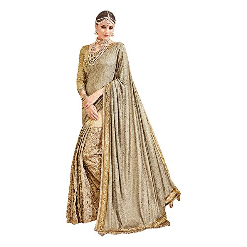 Goldene Black Friday Traditionelle Braut Designer neueste Zeremonie Hochzeit Partei Saree Sari Jari Stickerei Designer Bluse 615 (Sari Golden)