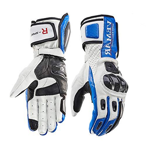 Akku beheizbarer Motocross Motorradhandschuhe Winter Motorrad Biker Handschuhe Leder Protektoren Schwarz Herren Damen Unisex,Blue,XXL