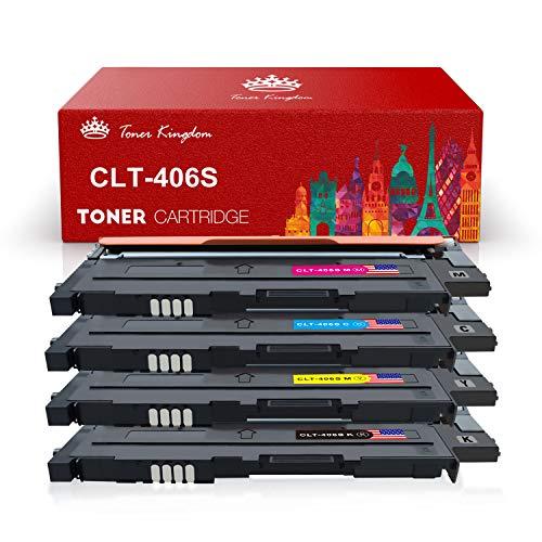 Toner Kingdom 4 Pack kompatibel Tonerpatronen für Samsung CLT-P406C CLT-K406S CLT-C406S CLT-M406S CLT-Y406S Tonerpatronen für Samsung Xpress C410W C460 C460W, CLP-360 CLP-365 CLX-3300 3305 Drucker -