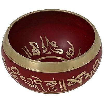 Rote Kunst tibetischen Bowl für Meditation buddhistische Dekor singen 10,2 CM