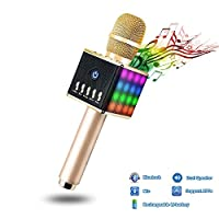 Apestool Wireless Microphone Karaoke, Handheld Bluetooth Speaker, Built-in Battery and Dual Speakers with LED Light for Party/ KTV- Gold