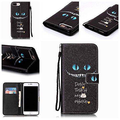 KATUMO® Hülle für Iphone 7 Plus/Iphone 8 Plus, Ultra Thin PU Leder Wallet Case Iphone 7 Plus Hülle, Iphone 8 Plus Case, Etui Handytasche Schale Zum Aufklappen mit Kartenfach, Finger Blau Augen