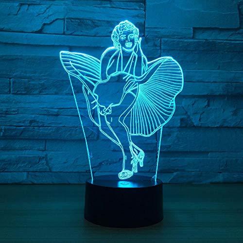 CYJQT 3D Nachtlicht Für Kinder Marilyn Monroe Led Leuchttisch Halloween Dekoration Geschenk Festival Usb 7 Farbwechsel Lava Lampe Kinder Für Frau Geschenk