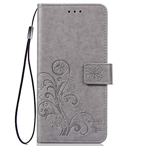 XIFAN Retro Brieftasche Stand Hülle für Cubot R9,Vierblättriges Kleeblatt Blume Geprägt PU Leder Magnetisch Flip Hülle mit Kartensteckplätze, grau