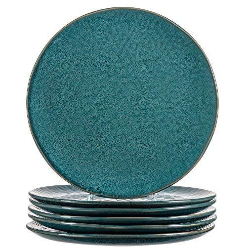 Leonardo Teller Matera 6-er Set, 27 cm, 6 Keramik Teller, spülmaschinengeeignet, mit Glasur blau, 018547