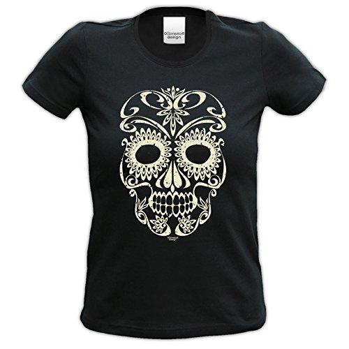 Skull ::: Tolles Halloween-Kostüm-Fun-Sprüche-T-Shirt für Mädchen und Damen Party-Outfit-Bekleidung Farbe: schwarz Schwarz