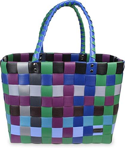 Einkaufskorb Shopper geflochten aus Kunststoff - robuster Strandkorb aus wasserabweisendem Material Classic / Tao