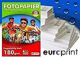 Fotopapier 180 g/m² MATT weiß DIN A4 50 Blatt Beidseitig Premium Wasserfest