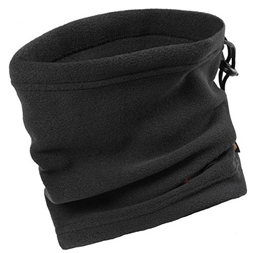 Unisex Multifunctional Polar Fleece Neck Warmer Scarf for Outdoors Work  Sport Ski Wear Mask (Black 0368a29bf46d