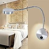 Dmce,Flexible 3 x 1w 85-265v aluminium schwanenhals led wand montieren-licht wandleuchte lampe beleuchtung mit schalter für schlafzimmer lesung mehrzweck-beleuchtung-Warmes Licht 70x300x63mm