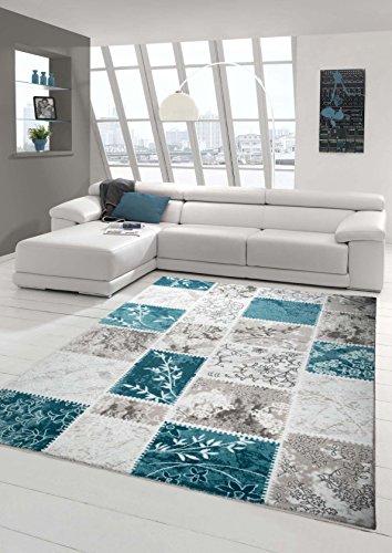 Alfombra de diseño contemporáneo Alfombra de lana Alfombras patchwork de salón alfombra alfombra de ornamento de la turquesa Crema Gris Größe 80x150 cm