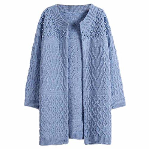 QIYUN.Z Les Femmes Long Câble Cardigan En Maille Imitation Perles Avant Ouverte Chandails Bleu