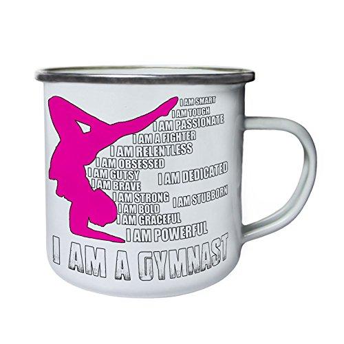 Soy un gimnasta, estoy comprometido Retro, lata, taza del esmalte 10oz/280ml z824e