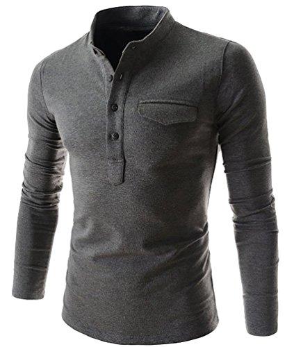 CHENGYANG Herren Slim Fit Henley Shirts mit Tasche V-Ausschnitt Langarmshirt Longsleeve Einfarbig Dunkelgrau