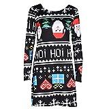 TWIFER Damen Weihnachten Langarm Kleid Chritsmas Dress Print Swing Flared Party Kleider